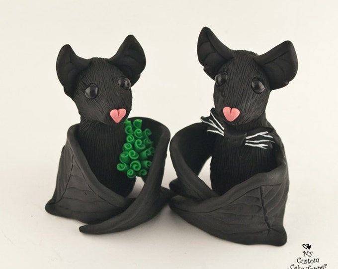 Bat Cake Topper - Black Bats Bride and Groom Halloween Theme Wedding Figurine - Pick Accessories and Colors
