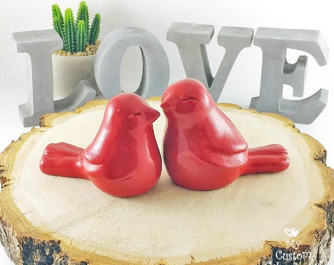 Love Bird Cake Topper Wedding Figurine - Love Bird Wedding Cake Topper - Pick Your Color