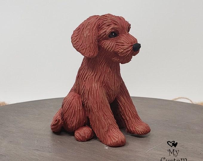 Dog Goldendoodle Sculpture - Realistic Dog Figurine - Goldendoodle Wedding Cake Topper - Pet Portrait Keepsake