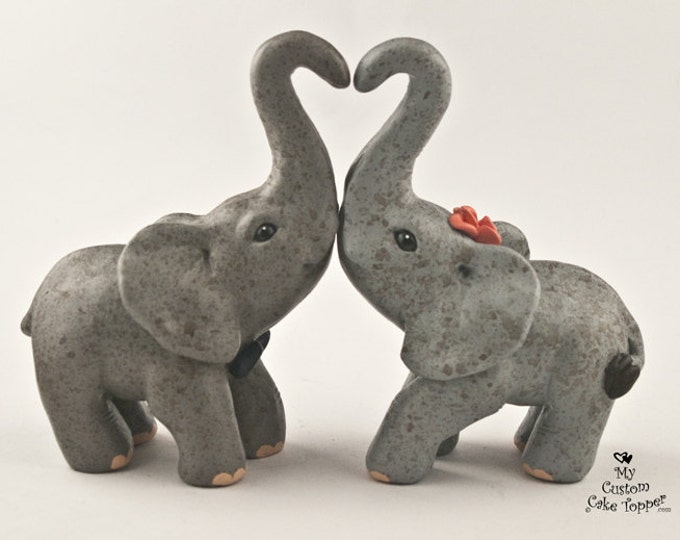 Elephant Wedding Cake Topper - Standing Heart - Choose your colors