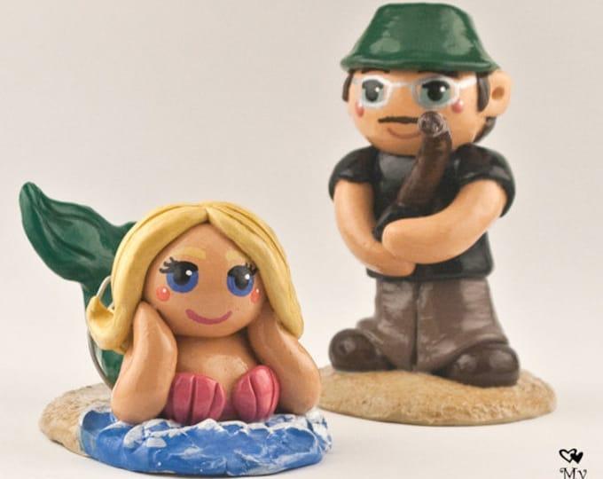 Mermaid Cake Topper - Bride and Groom Wedding Figurine - Engagement Gift Sculpture - Fishing Fisherman Catch