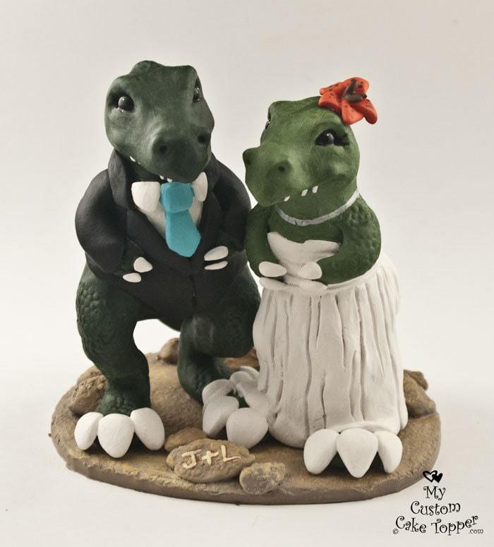 T-Rex Dinosaur Wedding Cake Topper - Cartoon Dino Bride and Groom
