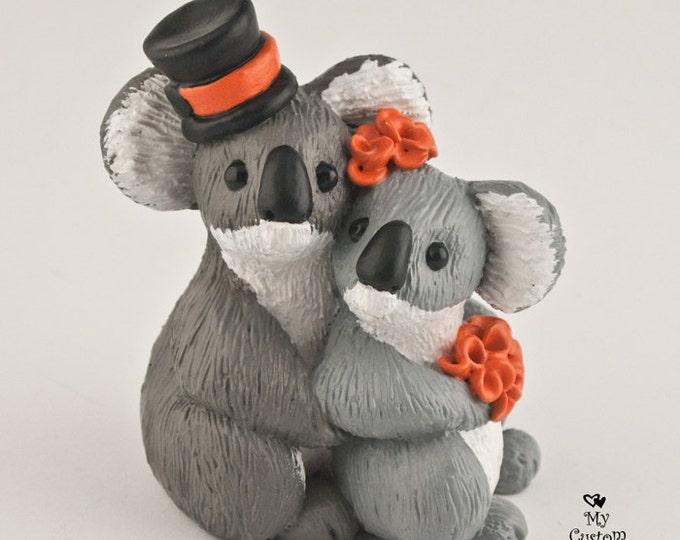 Koala Bear Wedding Cake Topper Bride and Groom