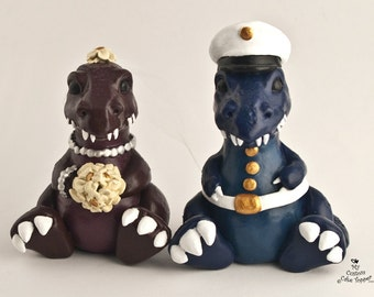 T-Rex Dinosaur Wedding Cake Topper Custom Bride and Groom - Prehistoric Bride and Groom Anniversary Gift