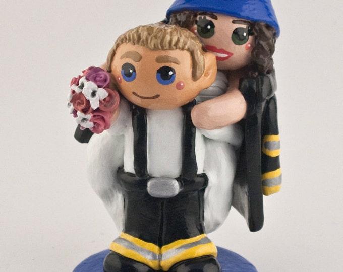 Fireman Cake Topper - Bride and Groom Wedding Figurine - Anniversary Gift Sculpture