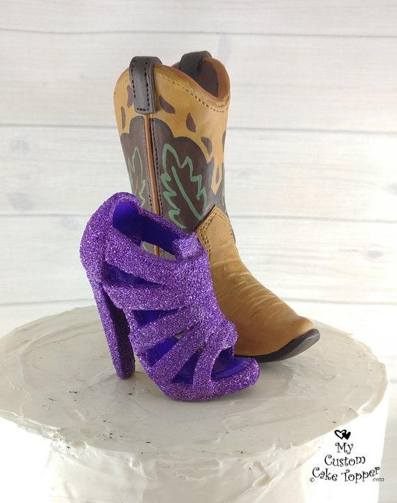 Talon haut chaussure et botte botte botte de Cowboy Wedding Cake Topper 83c155