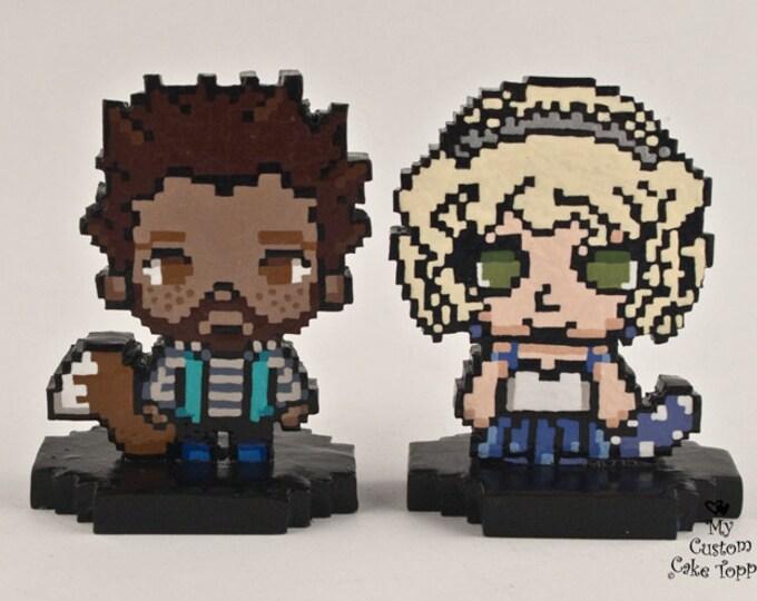 8-Bit Pixel Custom Wedding Cake Topper Figurine Sculpture - Vintage Classic Gaming Graphics - Personalized Centrepiece