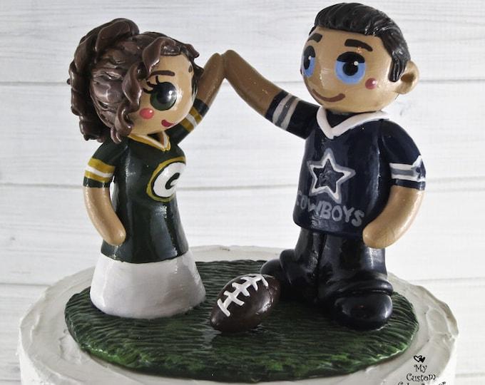Football Cake Topper - Sports Bride and Groom Wedding Cake Topper Figurine