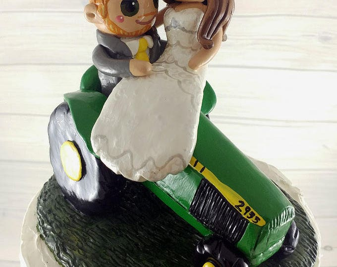 Bride and Groom Riding Tractor Wedding Cake Topper
