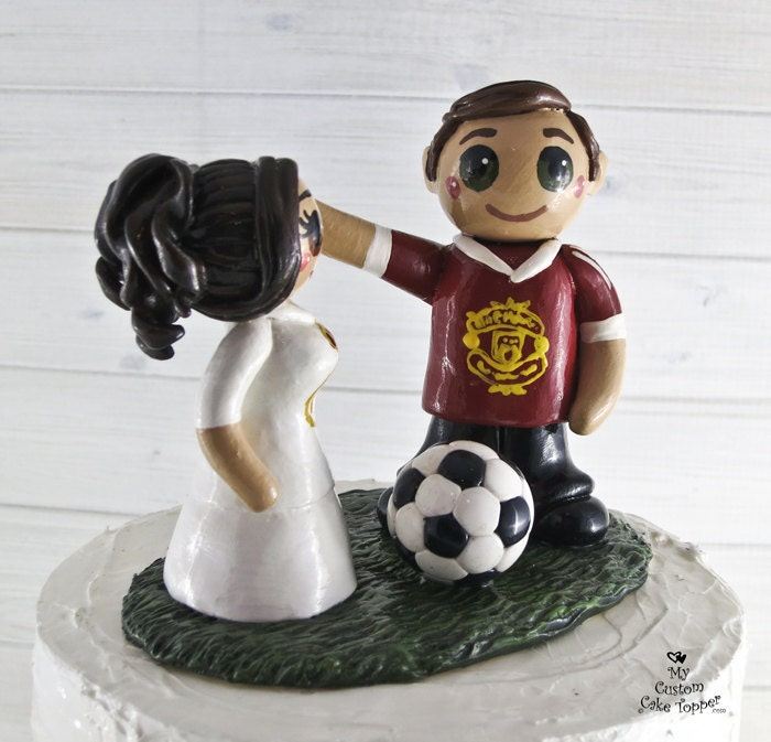 Soccer Wedding Cake Topper Bride and Groom