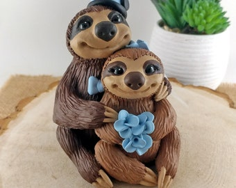Sloth Wedding Cake Topper Bride and Groom