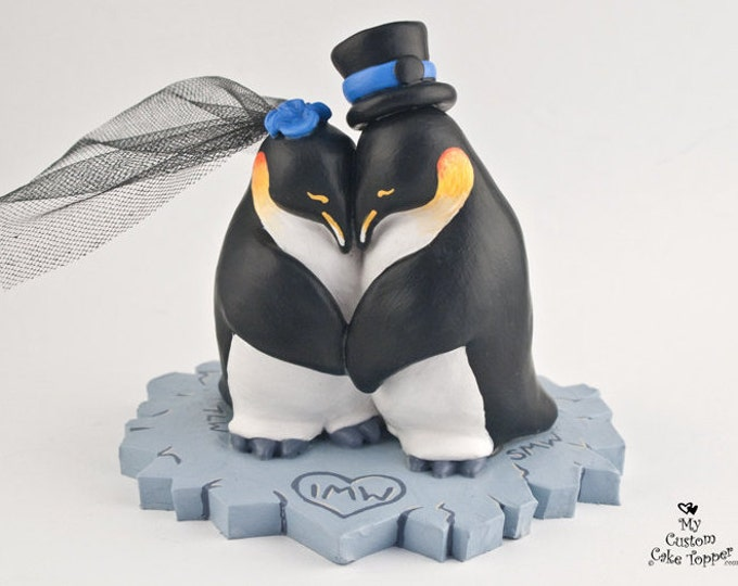 Penguin Cake Topper -  Realistic Penguins Cuddling on Ice - Antarctic Themed Wedding Figurine - Pick Colors and base