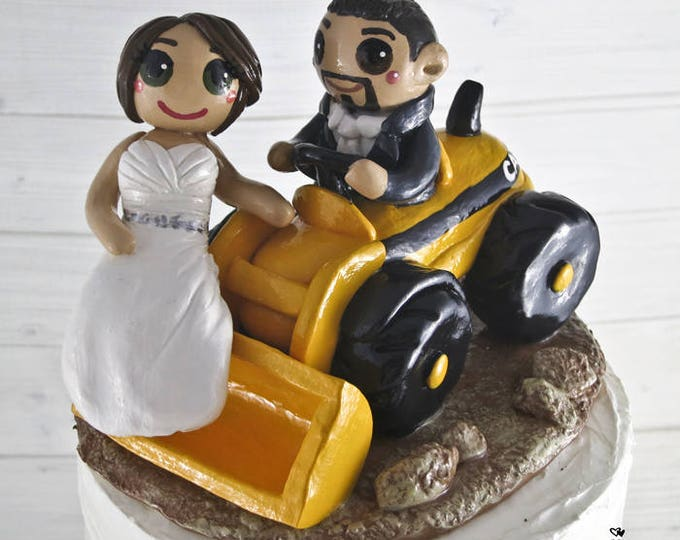Bride and Groom Front Loader Wedding Cake Topper - Riding Construction Equipment Cake Topper
