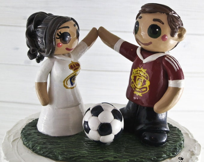 Soccer Cake Topper - Bride and Groom Wedding Cake Topper Figurine - Sports - Anniversary gift