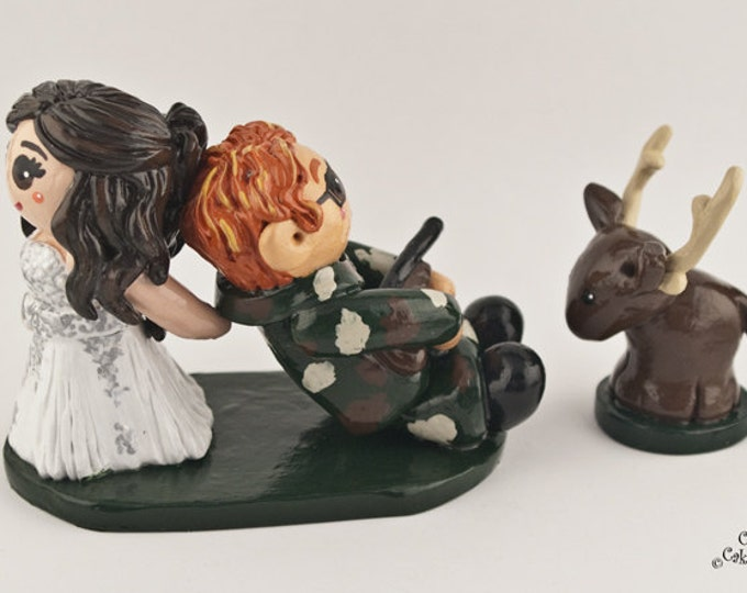 Hunting Cake Topper - Bride and Groom Wedding Figurine - Handmade Anniversary Gift