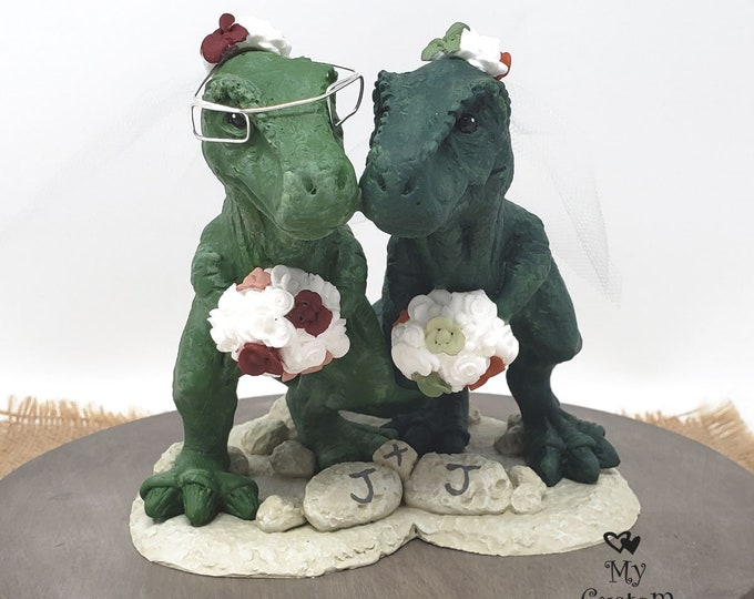 Mrs and Mrs. T-Rex Dinosaur Wedding Cake Topper Figurine - Tyrannosaurus Rex Sculpture - Realistic Bride and Bride T-Rex