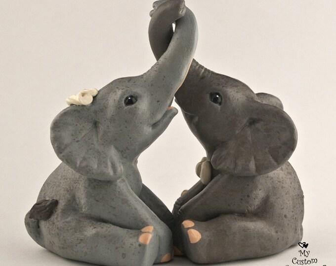 Elephant Wedding Cake Topper - Sitting Tying the Knot - Realistic