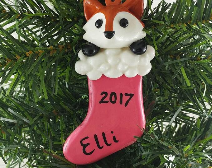 Fox Christmas Ornament / Animal in a stocking Christmas Gift / Stocking Stuffer