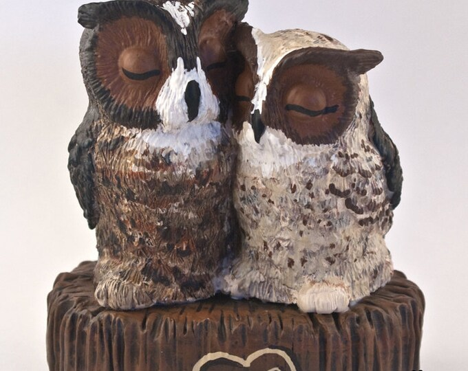 Owl Wedding Cake Topper - Realistic Great Horned Owls