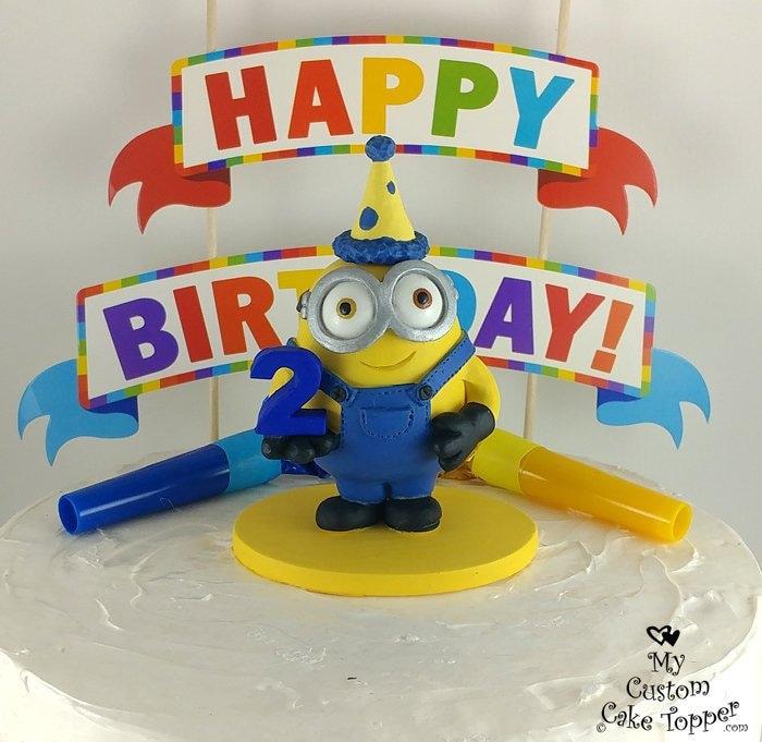 Super Minion Birthday Cake Topper Happy Birthday Minion Sculpture Personalised Birthday Cards Rectzonderlifede