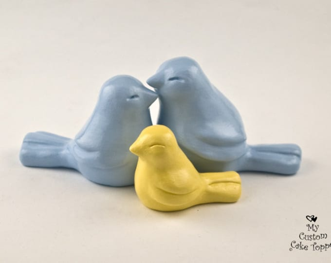 Love Bird Family Cake Topper - Classic Wedding Figurine - Pick Your Colors