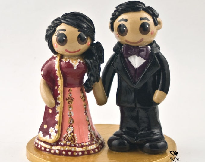 East Indian Cake Topper - Traditional Wedding Figurine - Religious Engagement Party Centerpiece