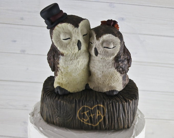 Barn Owl Love on a Stump Custom Wedding Cake Topper