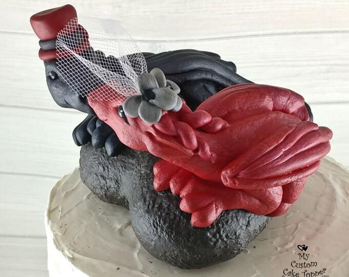 Dragons Wedding Cake Topper - Kissing, Heart shape
