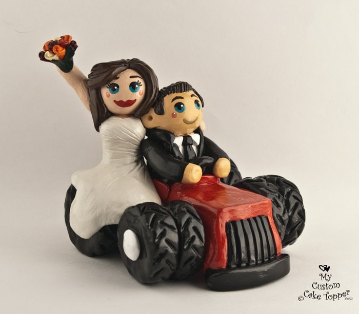 Bride and Groom Tractor Wedding Cake Topper Riding on a Tractor