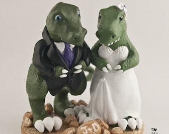 T-Rex Dinosaur Wedding Cake Topper Cute Dino Bride and Groom