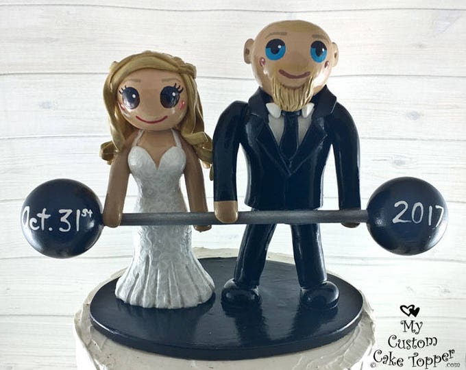 Bride and Groom Powerlifting Wedding Cake Topper - Crossfit Cake Topper