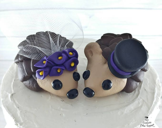 Hedgehogs Wedding Cake Topper with Calla Lilies