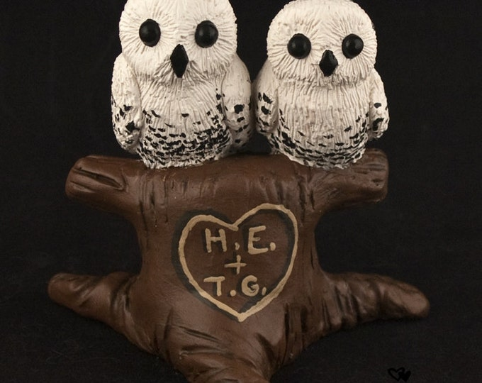 Owls Wedding Cake Topper - Cuddling in a Tree