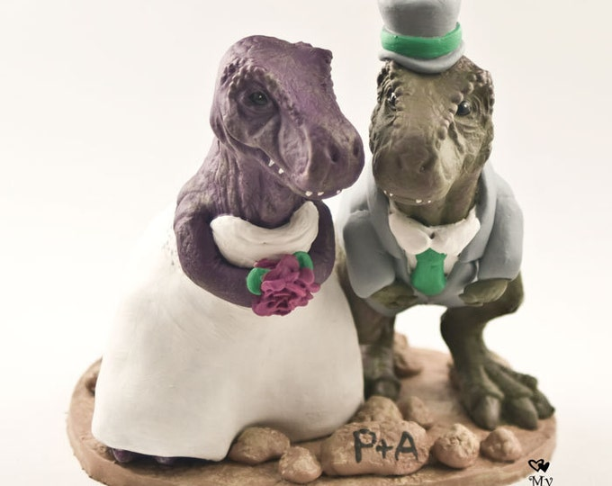 T-Rex Dinosaur Wedding Cake Topper - Realistic Bride and Groom T-Rex