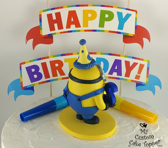 Awesome Minion Birthday Cake Topper Happy Birthday Minion Sculpture Personalised Birthday Cards Cominlily Jamesorg