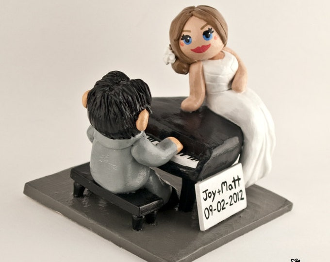 Piano Cake Topper - Musical Bride and Groom Wedding Cake Topper Figurine - Instrument - Music Themed Anniversary Gift