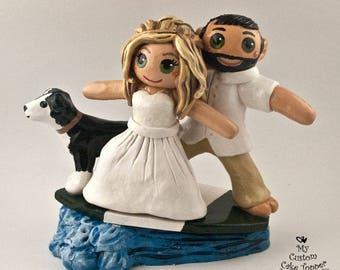 Surfing Cake Topper - Destination Bride and Groom Wedding Cake Topper Figurine - Wave Ocean Summer Sport Hobby