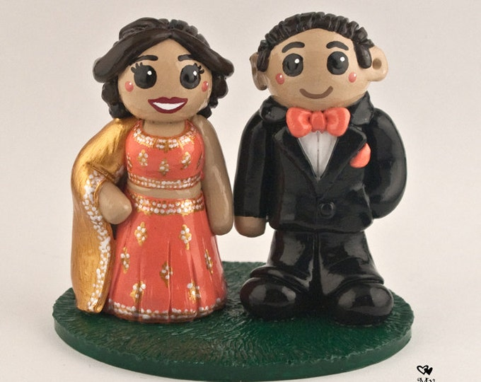 East Indian Cake Topper - Traditional Cultural Wedding Cake Figurine - Engagement Party Celebration Centerpiece