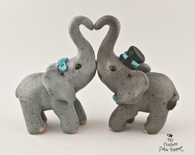 Elephant Wedding Cake Topper - Standing Heart Making Heart - Grey