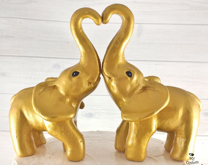 Elephant Wedding Cake Topper - Golden Heart formed with trunks
