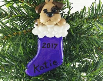 Dog Christmas Ornament / Animal in a stocking Christmas Gift / Stocking Stuffer