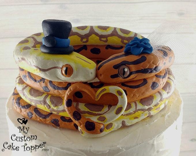 Snake Wedding Cake Topper Figurine - Serpent Reptiles Snakes - Anniversary Gift - Engagement Present - Keepsake Decoration