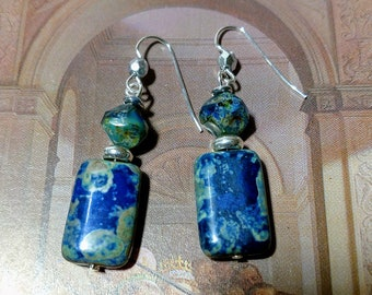 Lapis Blue and Green Picasso Czech glass bead silver earrings dangle