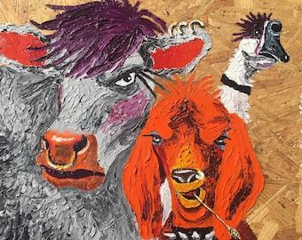 Farm animals goth heavy metal painting
