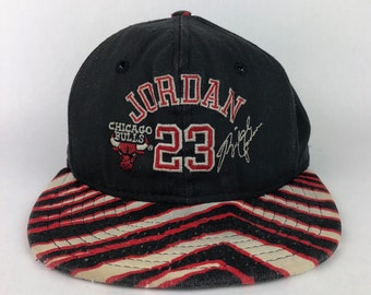 15ba631cd90 Vintage RARE Michael Jordan Chicago Bulls Zubaz Snapback Hat