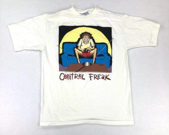 Vintage Cartoon Control Freak Pink Graphic T Shirt Fits Size XL 90s