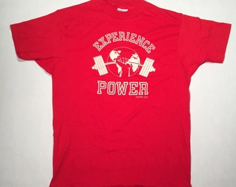"Vintage ""Experience Power"" Weightlifting T-Shirt"
