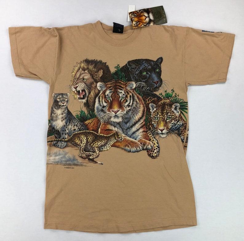 25ca4bdf29 Vintage Big Cats Animal Print T-Shirt New with Tags