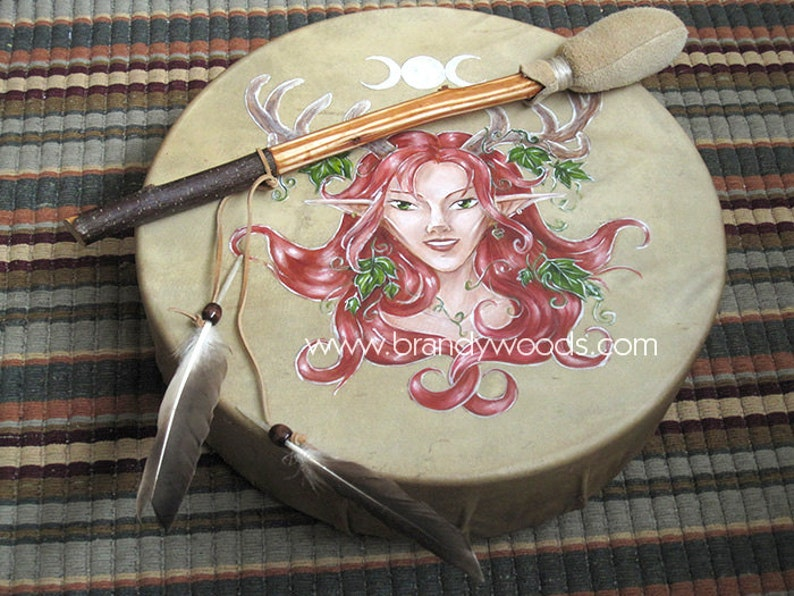 Elen of the Ways  13 Handmade Faerie Shaman Deer Drum  image 0