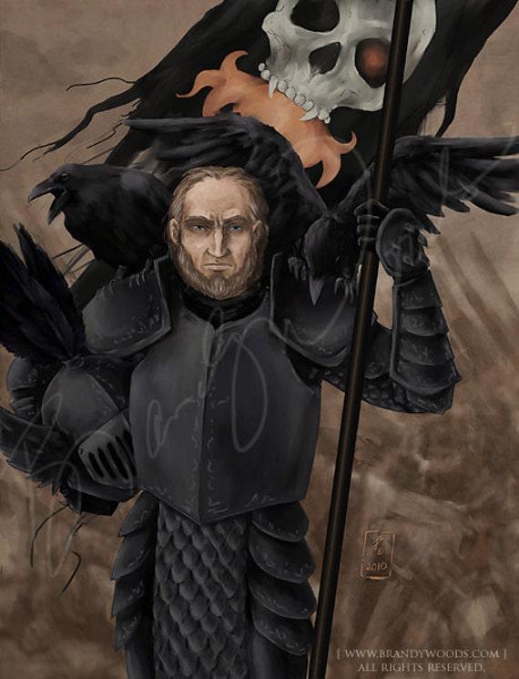 ELRIC portrait dark fantasy gothic Moorcock art print by Brandy Woods